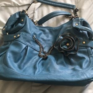 Handbags - Blue purse with rose and chains